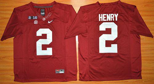 super popular 42d36 80d0f Crimson Tide #2 Derrick Henry Red 2016 National Championship Stitched NCAA  Jersey