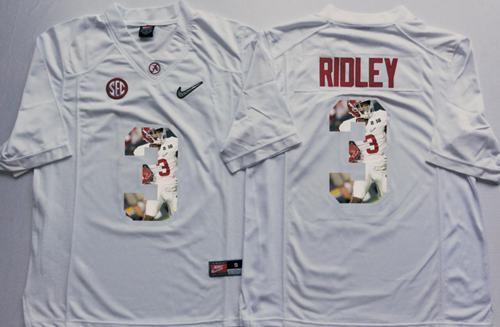 buy online 17524 0bac0 Crimson Tide #3 Calvin Ridley White Player Fashion Stitched NCAA Jersey