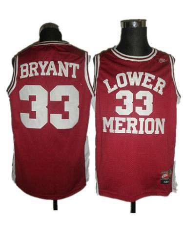 Merion #33 Kobe Bryant Red Basketball Stitched NCAA Jersey ...